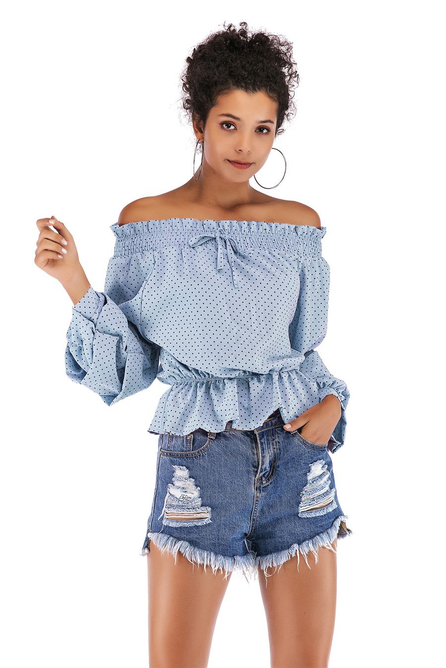 Gladiolus Chiffon Blouse Women 2019 Spring Autumn Long Sleeve Polka Dot Off Shoulder Sexy Blouses Women Shirts Ruffles Blusas (19)
