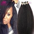 Novo cabelo humano I ponta extensões de cabelo Kinky hetero grosso Yaki I dicas 1 g / Strand 100 Strand Handmade fusão extensões do cabelo
