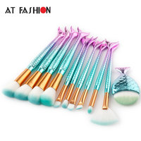 11Pcs Mermaid Shaped Makeup Brush Set Big Fish Tail Foundation Powder Eyeshadow Make Up Brushes Contour