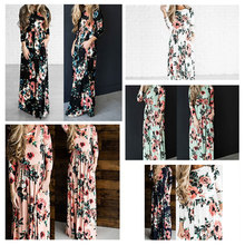 2018 Maxi Dress Women Floral Long Vestido Verano Summer Dress Vintage Fashion Casual Bohemian Dresses for Ladies Full Sleeve