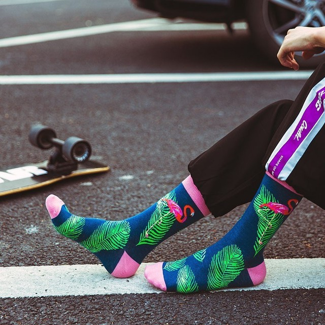 10 Colors Men's Fashion Dress Socks Cotton Colorful Wedding Mens Socks Novelty Plant Flamingo Series Soks Happy Funny Calcetines