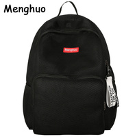 Menghuo 2017 Women Korean Mesh Backpack Bookbag School Bag Summer Teenage Girls boys Lovers Backpack Transparent Bolsas Mochila