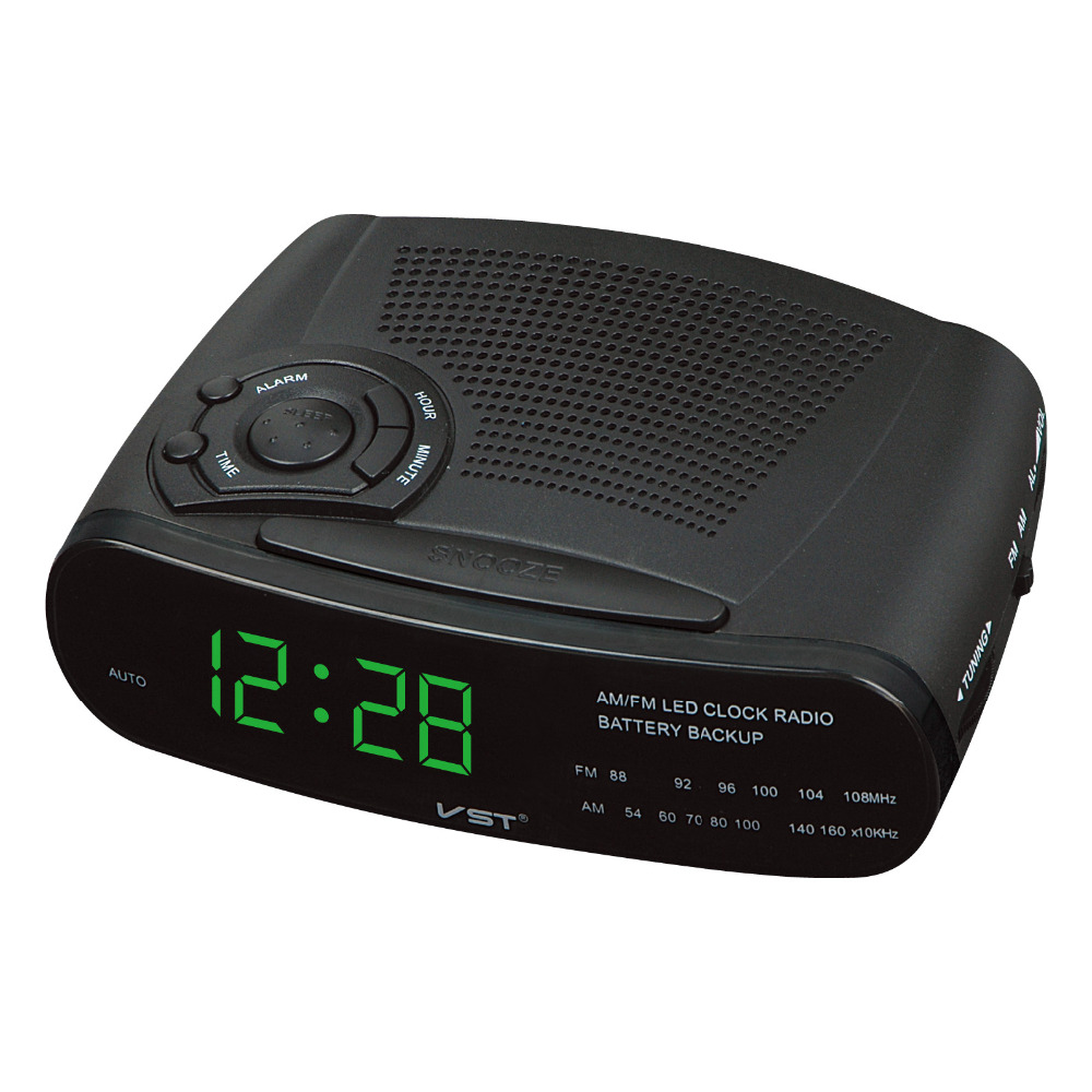 am fm radio clock 0 6 led display digital alarm clock with soft backlight snooze function ac. Black Bedroom Furniture Sets. Home Design Ideas