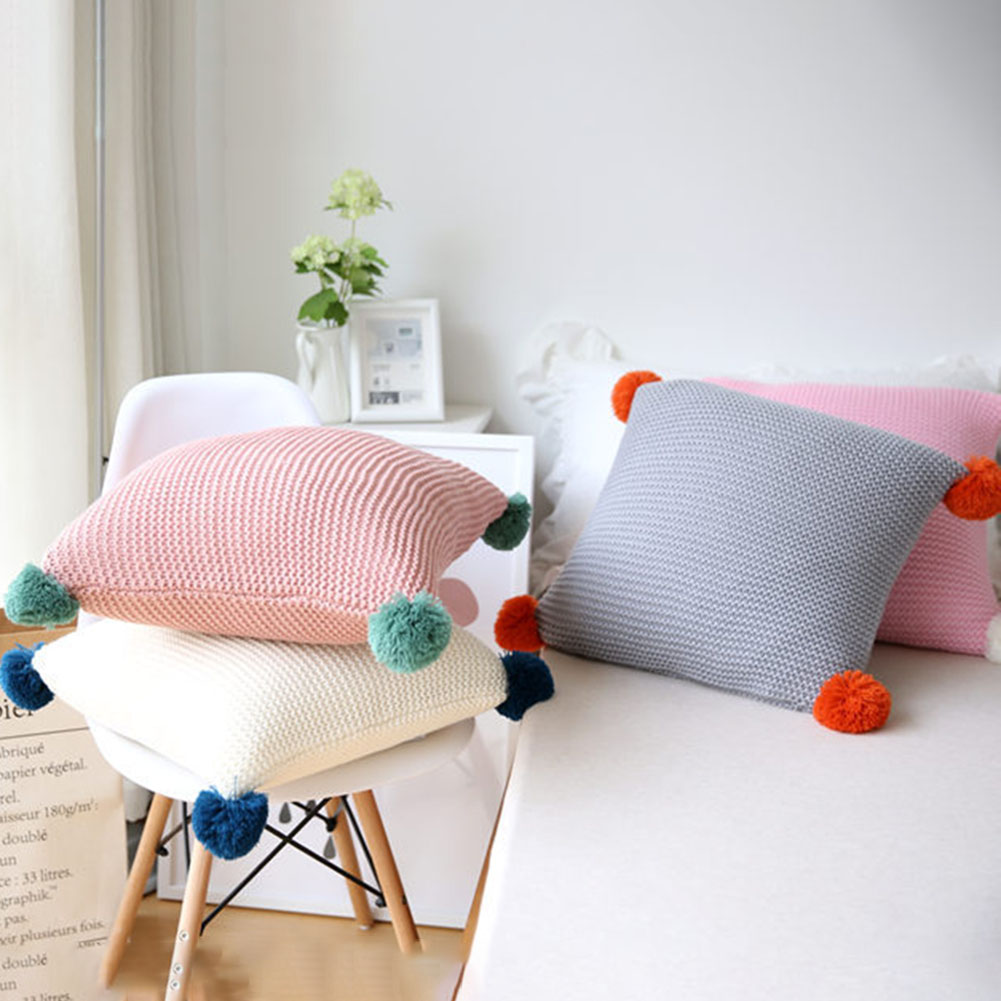Industrious 45*45cm Solid Color Wool Ball Knitted Cushion Cover Sofa Decorative Wool Pillowcase Decorative Pillow Covers Indoor Skillful Manufacture Home & Garden
