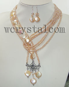 AAA Pink Coin Pearl Seed Beads Necklace Earrings SetsAAA Pink Coin Pearl Seed Beads Necklace Earrings Sets