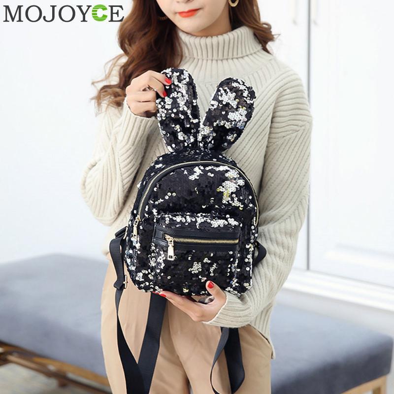 Mini Sequins Backpack Cute Rabbit Ears Shoulder Bag For Women Girls Travel Bag Bling Shiny Backpack Mochila Feminina Escolar New #3