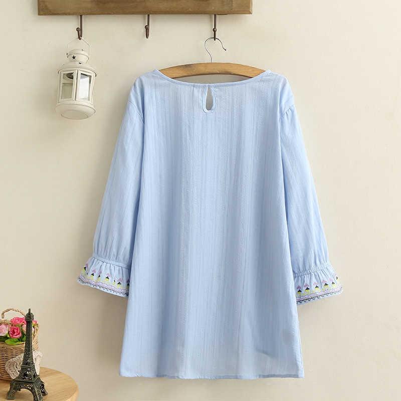 ファッション春夏 2020 新大型サイズの女性の 3/4 長袖ジャガード刺繍シャツ女性ルーススピーカースリーブブラウス A294
