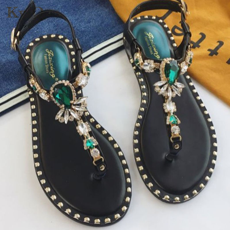 Fashion Leather Women Sandals Bohemian Diamond Slippers Woman Flats Flip Flops Shoes Summer Beach Sandals size35-40 kuyupp fashion leather women sandals bohemian diamond slippers woman flats flip flops shoes summer beach sandals size10 ydt563