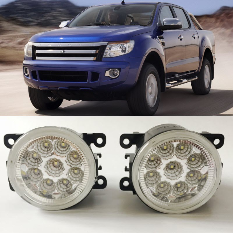 Car Styling For Ford Ranger 2012 2013 2014 2015 9-Pieces Leds Chips LED Fog Light Lamp H11 H8 12V 55W Halogen Fog Lights fog light set 12v 55w car fog lights lamp for toyota hiace 2014 on clear lens wiring kit free shipping