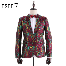 OSCN7 Red Mens Floral Printed Blazer Leisure Blazer Masculino Slim Fit Men Fashion Cotton Plus Size Prom Blazer Masculino