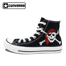 Brand All Star Converse Unisex Canvas Shoes Hand Painted Skull Caribbean Pirates Black High Top Athletic Sneakers(China)