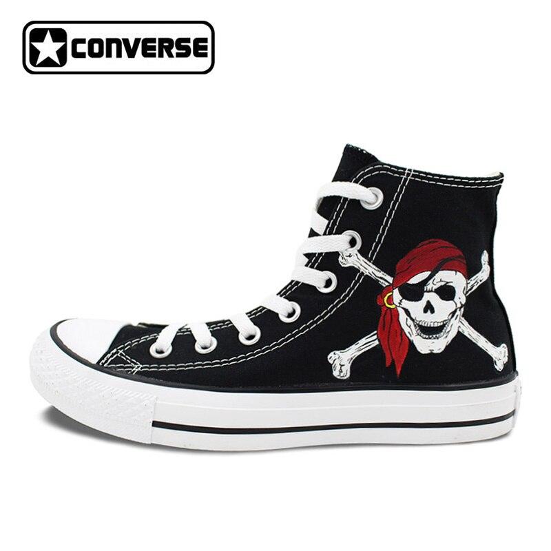 Tienda Online Marca All Star Converse Unisex Zapatos de Lona Pintados A  Mano Del Caribe Piratas Del Cráneo Negro del Top del Alto de Zapatillas  Deportivas ...