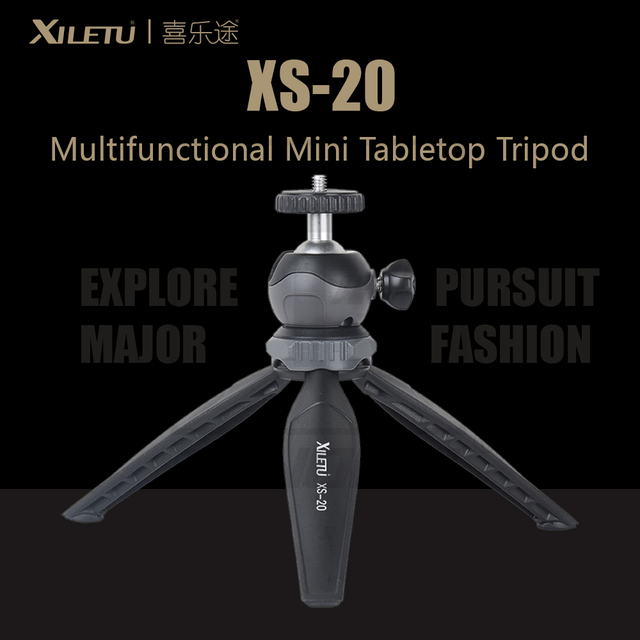 XILETU XS 20 Multifunctional MINI Tabletop ขาตั้งกล้องสำหรับโทรศัพท์มือถือและ DSLR ที่ถอดออกได้ ballhead สองปรับมุม 141g น้ำหนัก