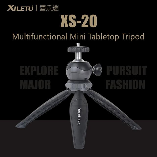 XILETU XS 20 متعدد الوظائف شوّاية منضديّة صغيرة ترايبود للهاتف المحمول و DSLR قابل للإزالة ballhead اثنين زاوية التعديلات 141g الوزن