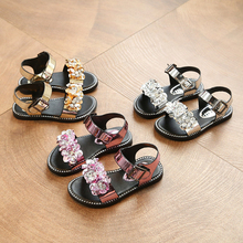 2017 summer new children's girls shoes princess shoes fashion wild sequins with beads open toe sandals