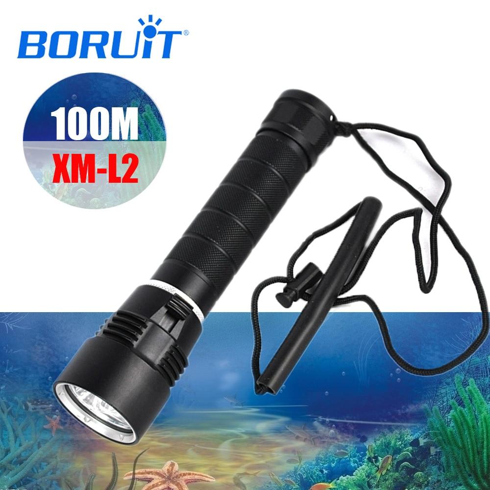 BORUIT M23 100m XM L2 LED Scuba Diving Flashlight Waterproof Torch Underwater Lamp Lantern Submarine Light For Diving Supplies
