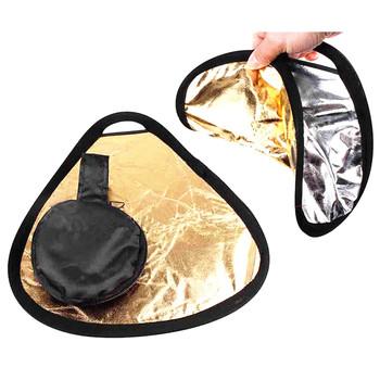 2in1 60 cm złoty srebrny reflektor przenośny składany ręczny Studio fotografia reflektor z torbą tanie i dobre opinie 2in1 60cm Owalne