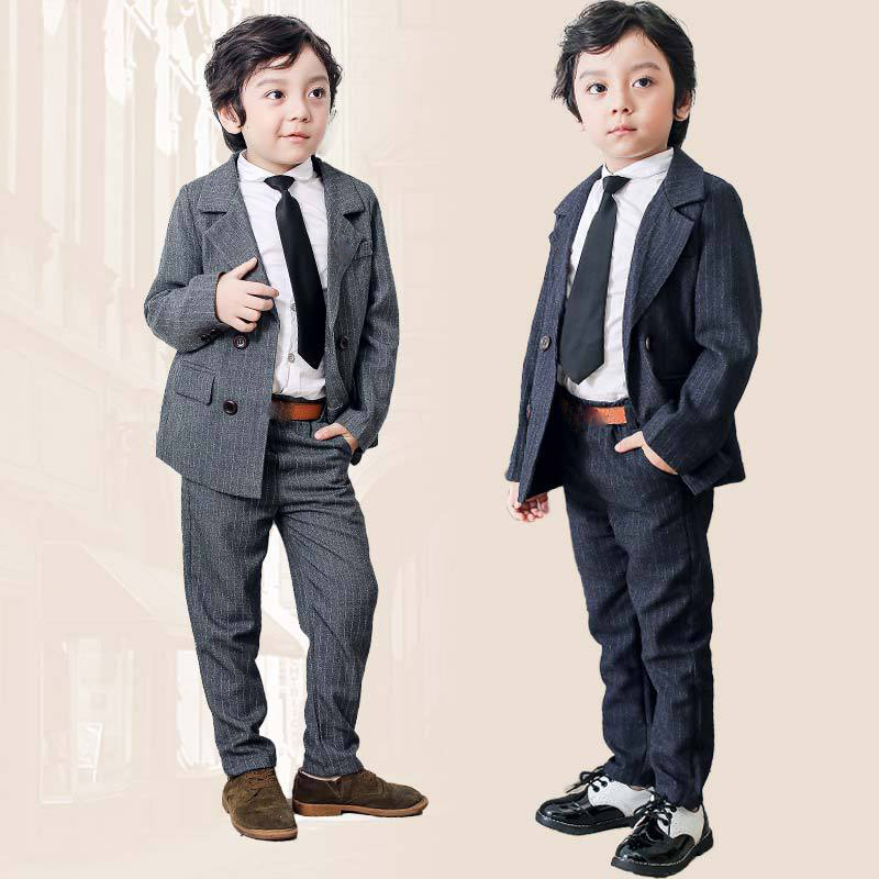 Flower Boys Formal Suit Sets Children Spring Autumn Blazer Pants 2pcs Outfits Kids Wedding Party Piano Performance Dress Costume spring outfits for kids