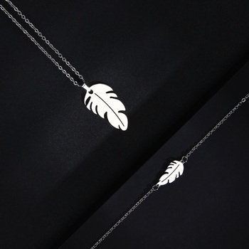 CACANA Stainless Steel Sets For Women Feather Shape Necklace Bracelet Earring Jewelry 5