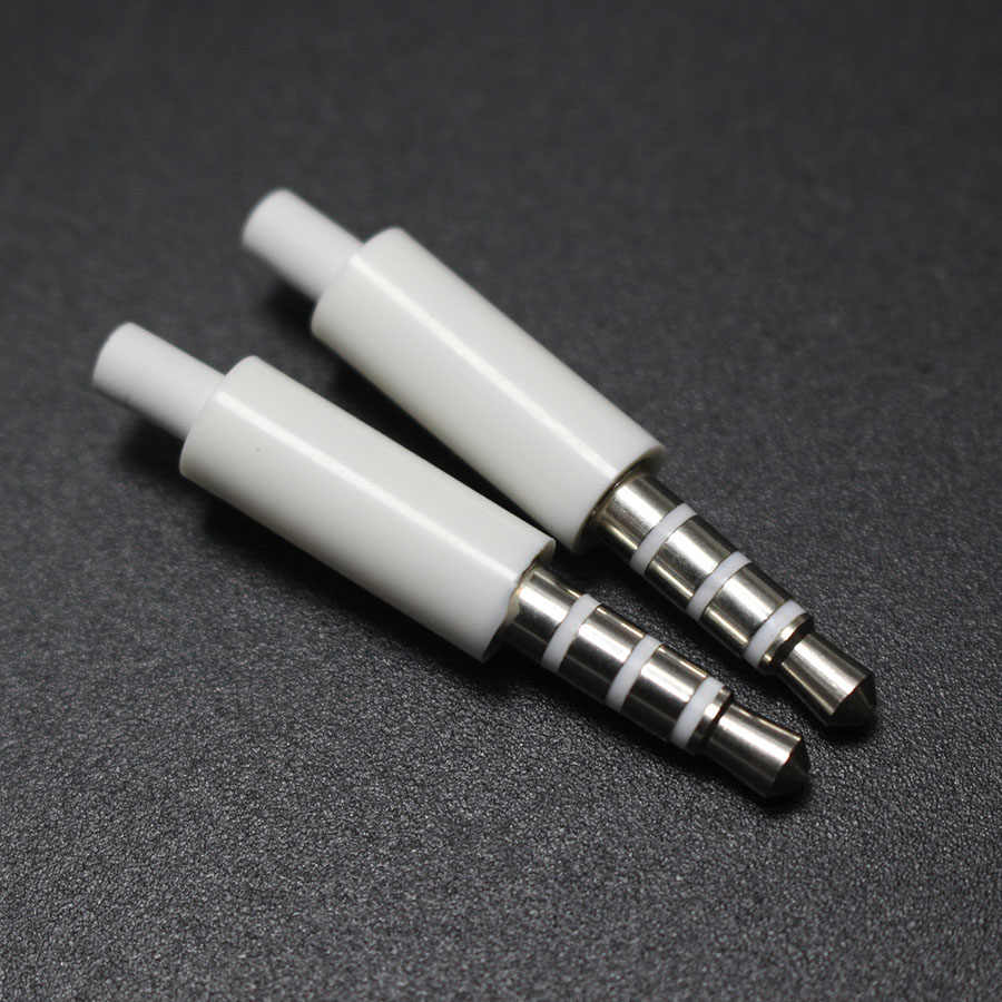 2pcs/lot 3.5mm stereo headset plug with tail 3/4 pole 3.5 mm audio plug Jack Adaptor connector for iphone white
