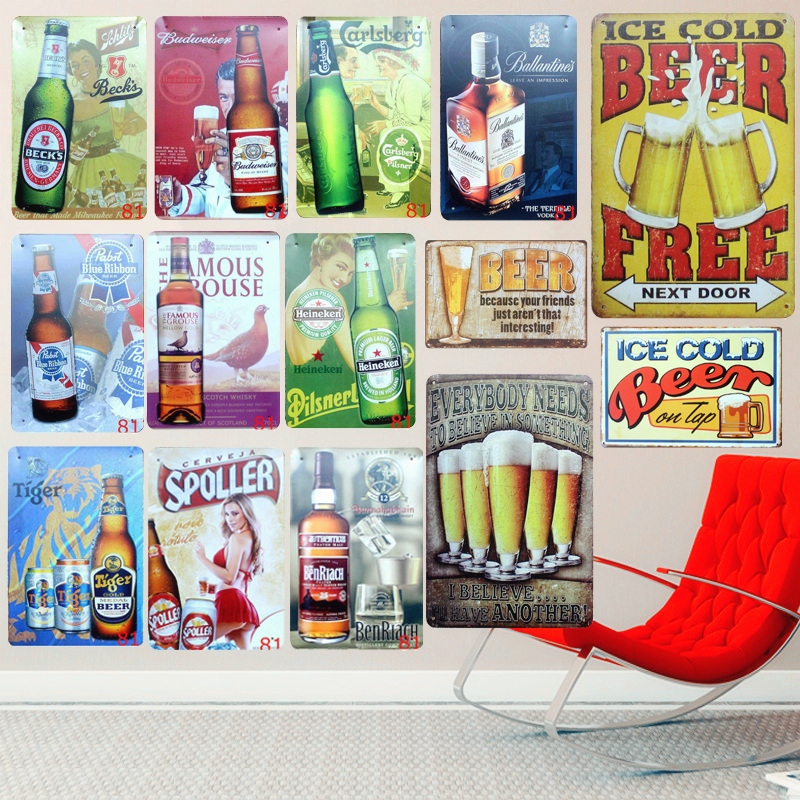 Gratis ICE Cold BEER Vintage Metal Tinskyltar Hem Bar PUB Decor Club Dekorativa Plattor Berömda Öl Iron Paint Wall Sticker A118