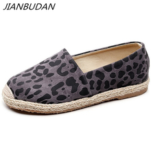 JIANBUDAN Womens spring casual canvas shoes Soft bottom comfortable non-slip walking Leopard flat 35-40 size