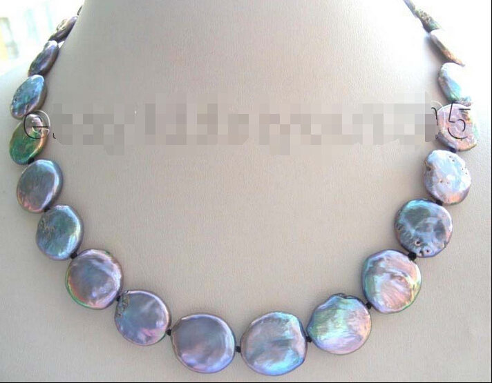 fastGenuine Natural 14mm Black Coin Pearl Necklace! image