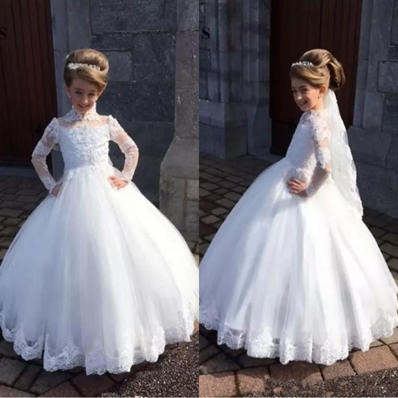 Long Sleeves 2019   Flower     Girl     Dresses   For Weddings Ball Gown High Collar Lace Long First Communion   Dresses   For Little   Girls