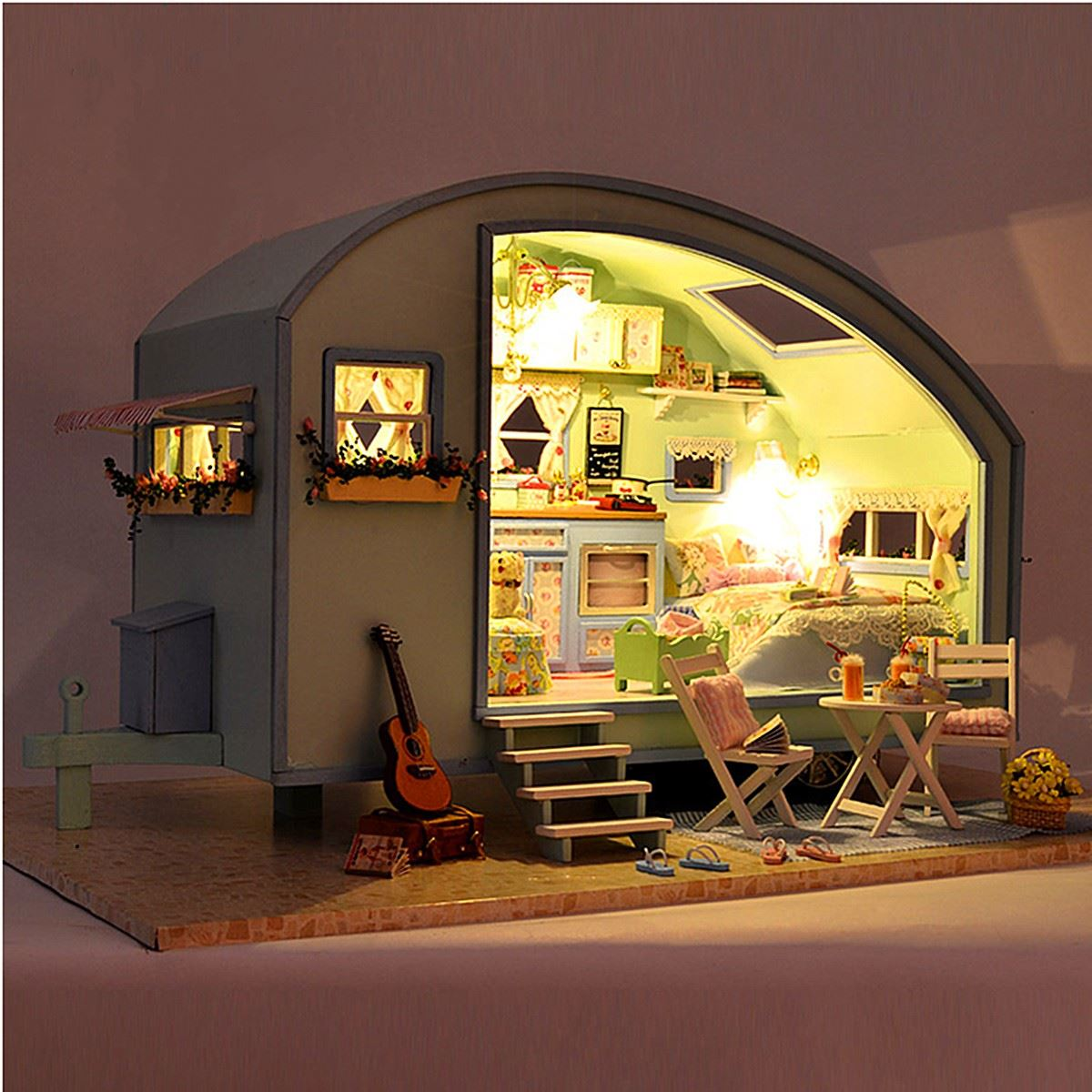 Us 4599 Diy Dollhouse Miniature Wooden Assembled With Voice Activated Light Music Handmade Kits Building Model Travel Caravan For Girls In Doll