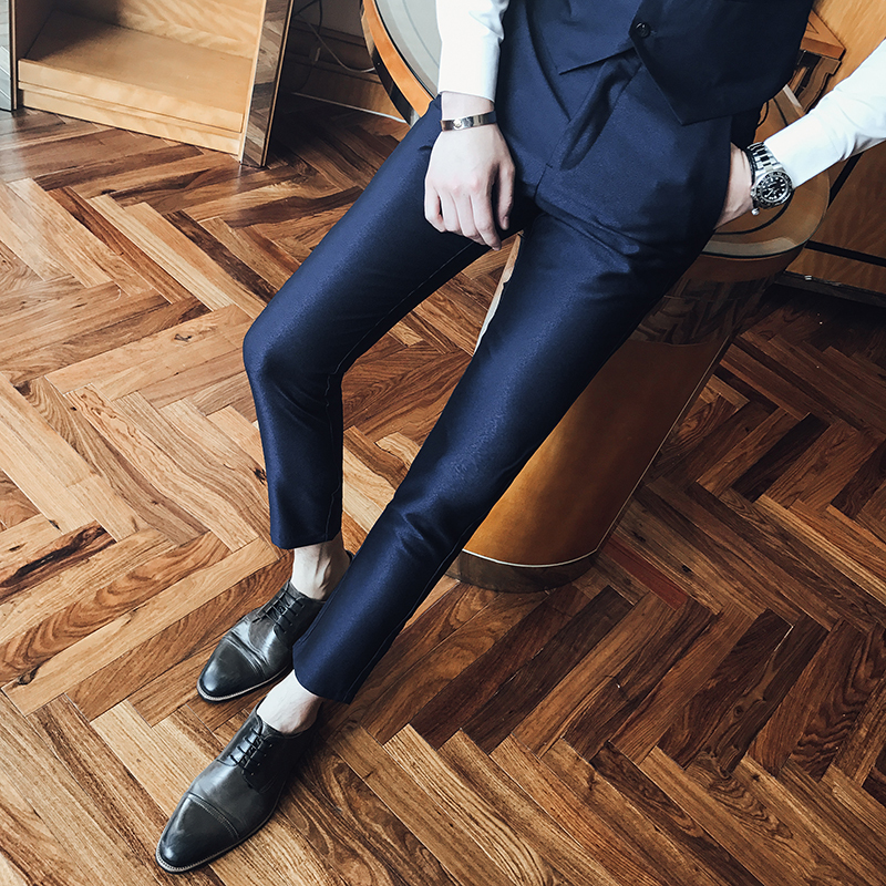 2018 Spring And Summer New Social Mens Suit Pants Slim Simple Solid Color Fashion Wild Trend Of Business Casual British Style ...