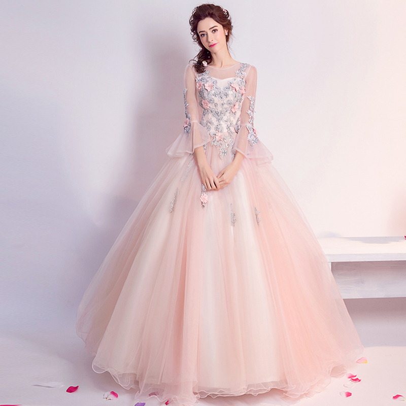 d7f2327631caefd Элегантное женское бальное платье вечернее платье розовая аппликация вышивка  Высокая Васит с расклешенными рукавами длинные платья сетка .