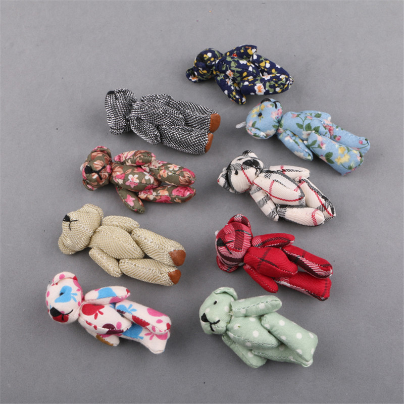 New Arrival 20PCS/Lot Floral Fabric Animal Bear Craft Toys Fit for Keychain Cute Women Girl Hair Jewelry Handbag Decoration