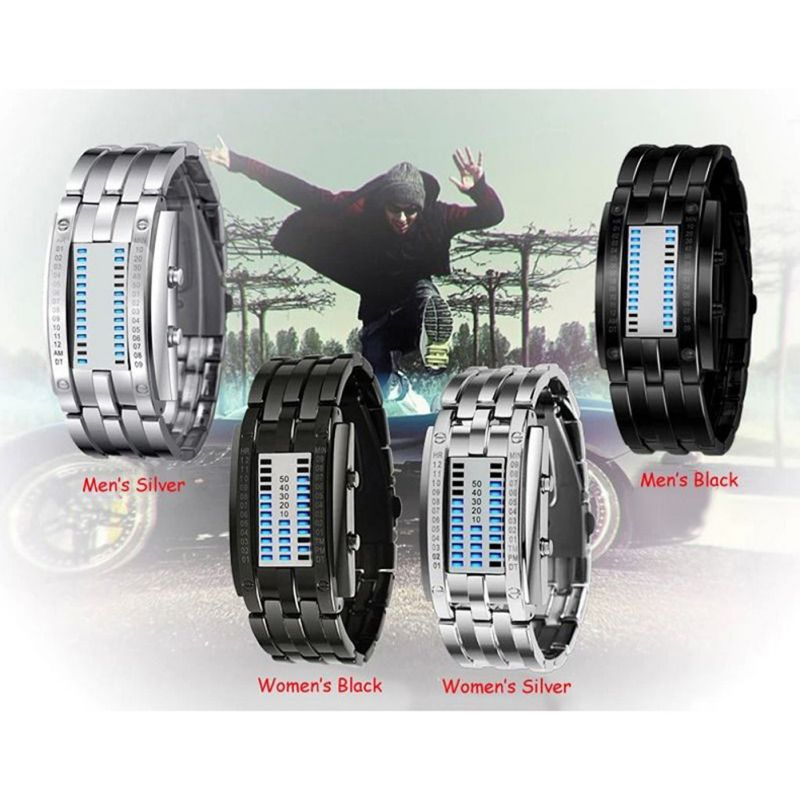 Technology Binary Watch Stainless Steel Date Digital LED Bracelet Sport Watches montre femme