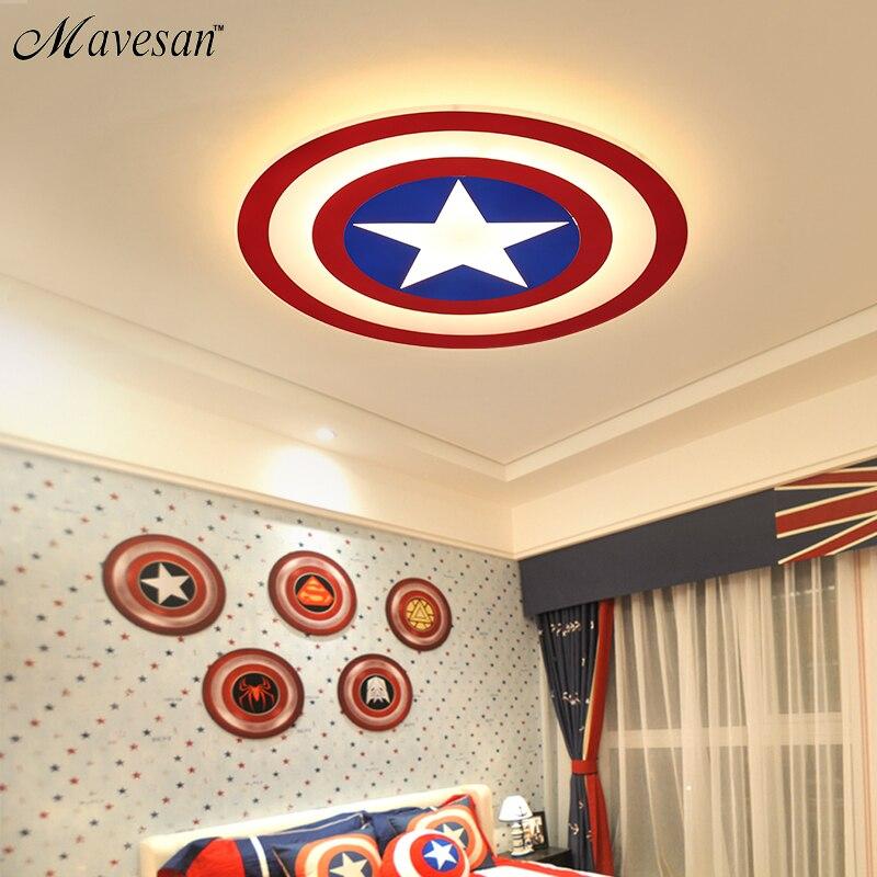 2018 Enfants LED Plafonniers Captain America avec télécommande pour bedoom étude chambre acrylique lampe lamparas de techo abajur