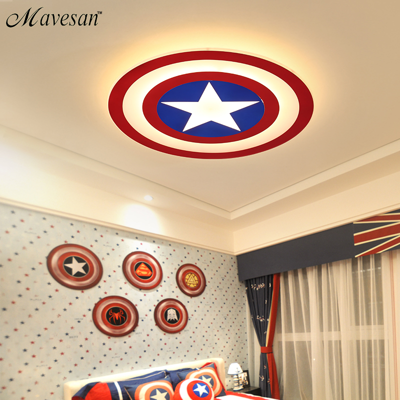 Kids LED Ceiling Lights Captain America with remote control for bedoom study room acrylic lamp lamparas de techo abajur Kids LED Ceiling Lights Captain America with remote control for bedoom study room acrylic lamp lamparas de techo abajur