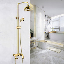 Bathroom Shower Faucet Brass Bath Shower Mixer Tap Hot & Cold Wall Mounted Shower Faucet Set Rotatable Lifting Golden Shower Tap golden rainfall shower faucets set brass wall mounted shower with hand shower mixer for bathroom
