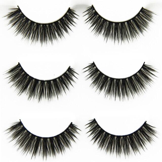 3 Pair Handmade False Eyelashes Natural Long Cross Eye Lashes