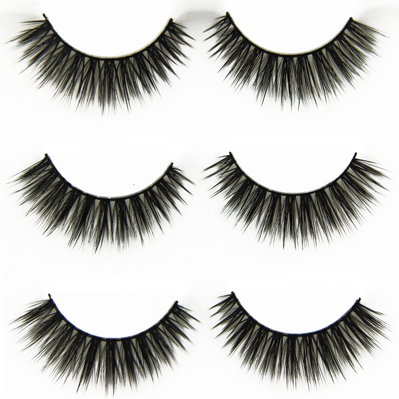 3 Pair Handmade False Eyelashes Natural Long Cross Eye Lashes Extension Tools Makeup Tips Fake Eyelash Lashes For Building