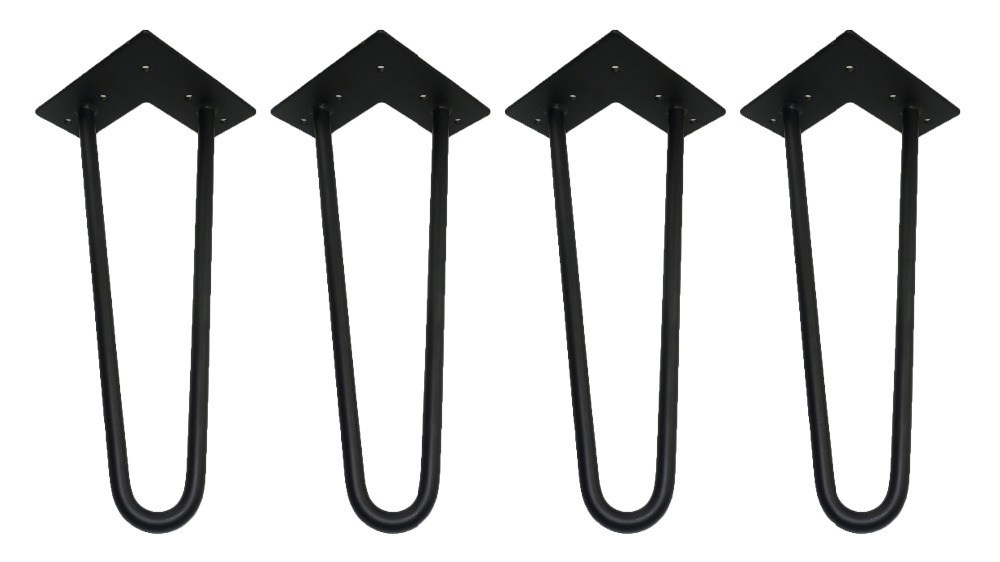 12 hairpin legs - matte black - 1/2 steel rod - set of 4 - Coffee Table Legs, sofa legs, metal bed feet, other furniture shot 300