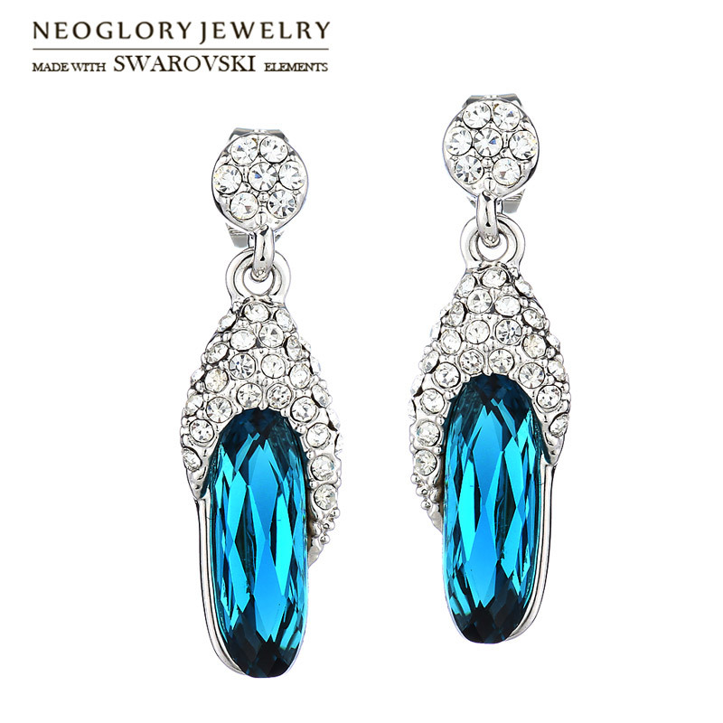 Neoglory Austria Crystal & Auden Rhinestone Long Drop Earrings Simple Geometric Style Alloy Plated For Women Fashion Gift