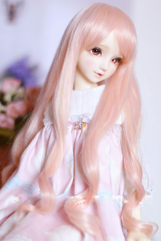 BJD Doll Wigs Pink Blue High-temperature Wire Long Curly Wigs For 1/3 1/4 BJD DD SD MSD Doll Wigs Very Soft