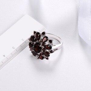 Image 3 - Gümüş granat yüzük 925 takı taş 7.54ct doğal siyah Garnet yüzükler kadın güzel takı klasik tasarım noel hediyesi