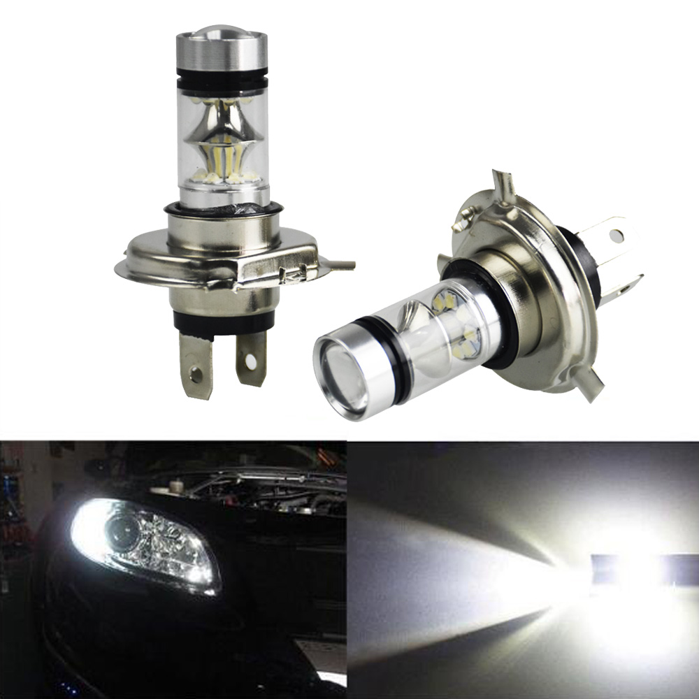 2pcs Car <font><b>LED</b></font> <font><b>H4</b></font> <font><b>100W</b></font> Super Bright Fog Light Driving Lights Lamp White Bulbs 20 SMDs Car <font><b>Headlight</b></font> DC 12V image