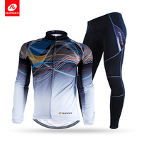 NUCKILY Winter Men's Cycling Apparel Road Bike Fleece Rear Pocket Bicycle Jersey With Tights Set NJ531 WNS900 W