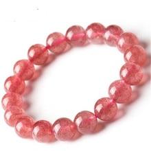 Φυσικό Υλικό Ενέργεια Πέτρες Rose Φράουλα χαλαζία βραχιόλια στρογγυλές χάντρες Bangle για ροζ γυναίκες Crystal κοσμήματα δώρο αγάπης