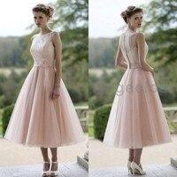 Conew Vestido De Noiva Short Wedding Dresses Scoop Neck Tea Length Bridal Gown Pink Tulle Bodice