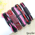 FL80-free shipping (5pcs/lot) latest lovely red&pink tribal ethnic handmade genuine braided wrap leather bracelet for women