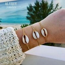 New Fashion Style Wholesale gold color shell bracelet in fashionable chain bracelet for women B0042(China)