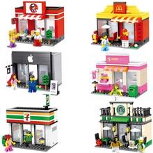 Горячая город мини street view строительный блок Apple 7-11 магазин кофе Starbucks сладкий магазин Макдональд com. withlego. игрушки