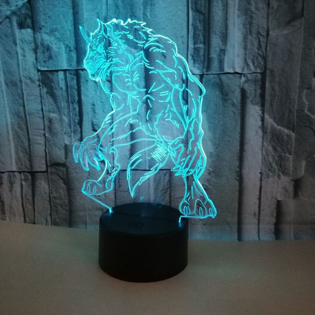 children's bedroom wolf 3d lamp colorful touch remote